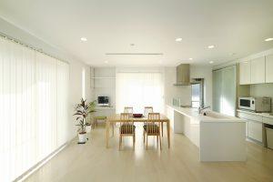 広いリビングの白い家